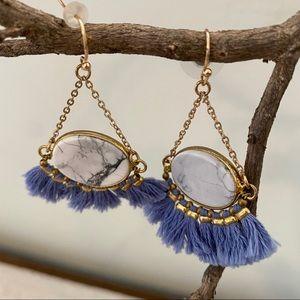Purple Fringe Tassel Earrings Gold Tone Marble